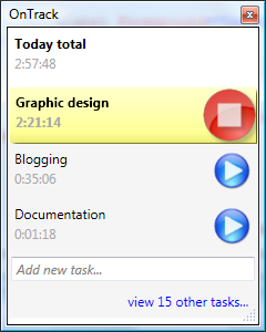 OnTrack, my first WPF app... i spent more time styling the stop button than i spent writing all of nextAction