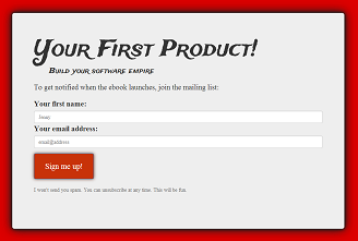 Landing page for YourFirstProduct.com