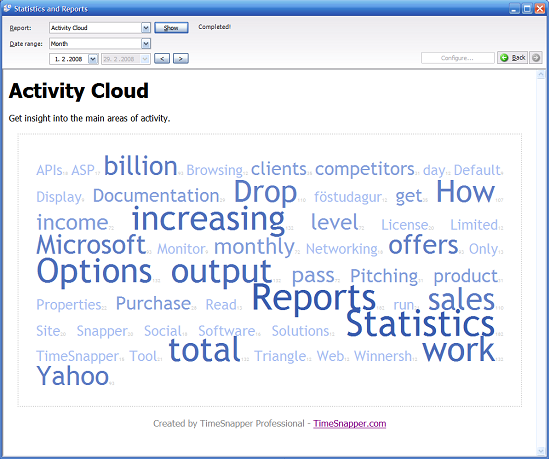Word Cloud giving a quick overview of your computing lifestyle