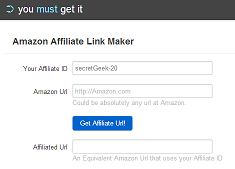 enter your affiliate id and a url at amazon, and get back an affiliated url for that product