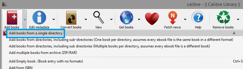 click Add books from a single directory in calibres main toolbar