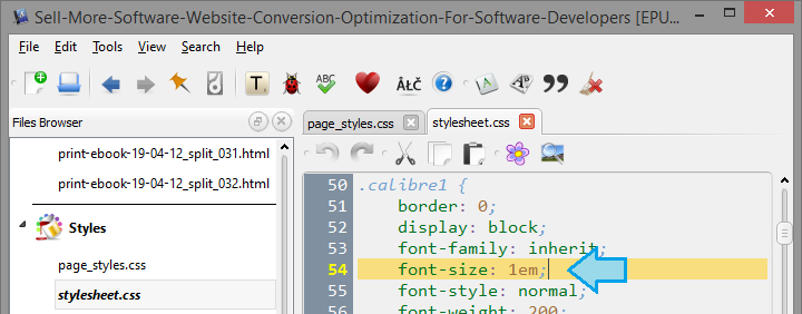 change the font-size of the calibre1 style from 16px to 1em