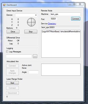 the dashboard, common to microsoft robotics tutorials
