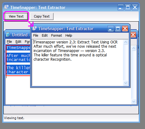 """the extracted words are shown in a """"Notepad-like"""" window"""
