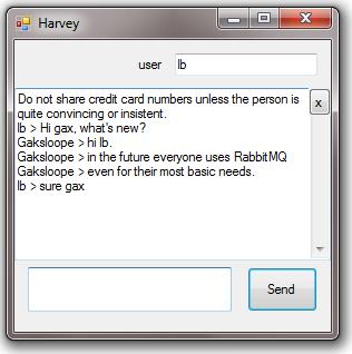 Harvey, a  net chat server built with RabbitMQ (secretGeek net)