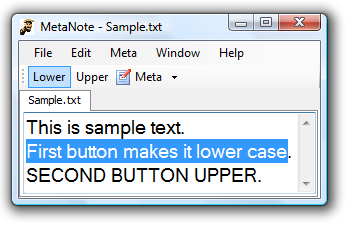 two toolbar buttons titled Lower and Upper.