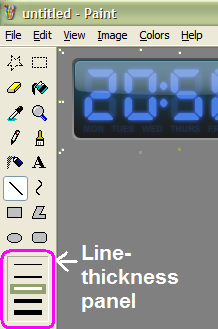 line thickness panel displayed when using straight line or curve tool