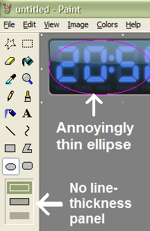 line thickness panel not displayed when using ellipse, for example