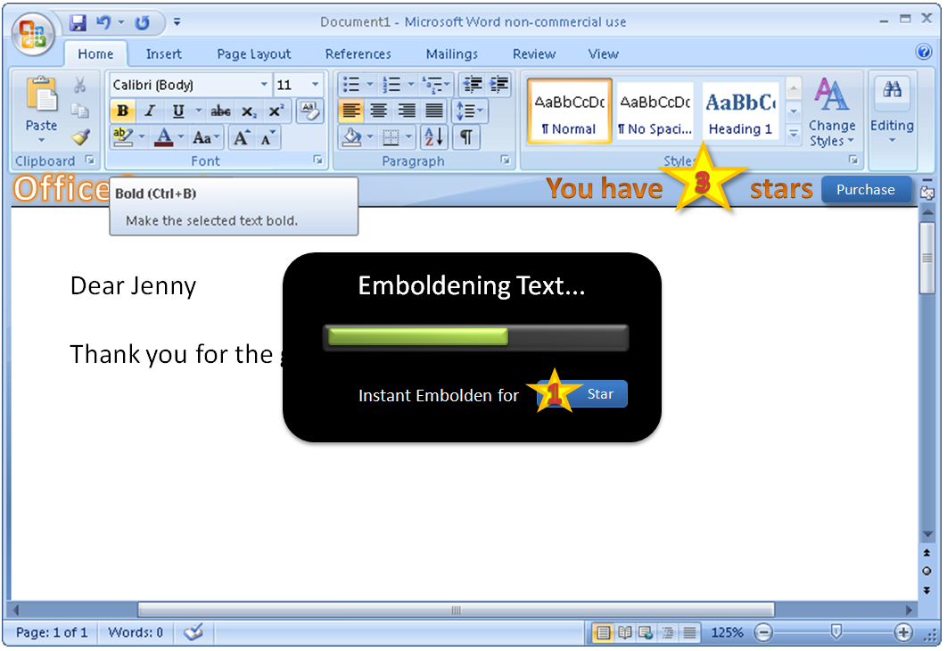 Dialog says: 'Emboldening Text... Instant Embolden for 1 Star.'