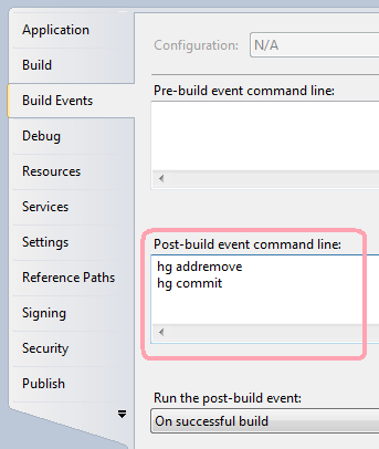post build action in visual studio 2010