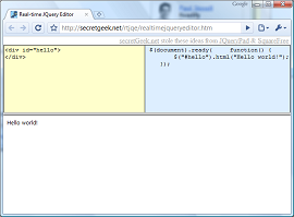the Real Time online JQuery Editor