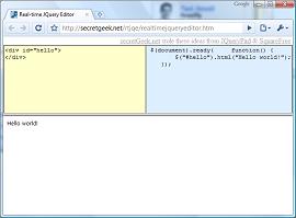 The Real-Time online JQuery Editor (secretGeek net)