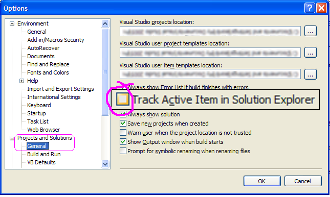 track active item in solution explorer: off by default for web profile