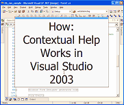 How Contextual Help Works in Visual Studio 2003