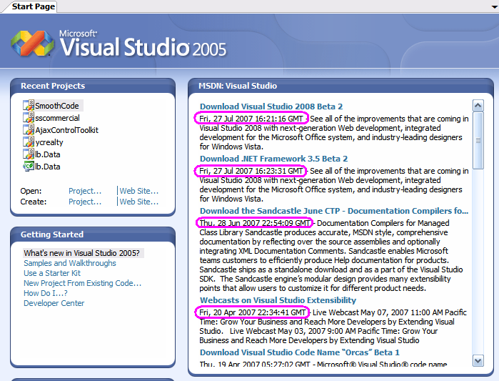 useless msdn feed in vs2005