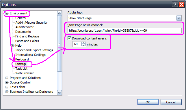 settings in vs 2005