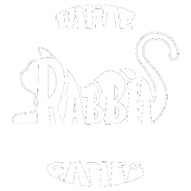 white rabbit games logo... a white cat